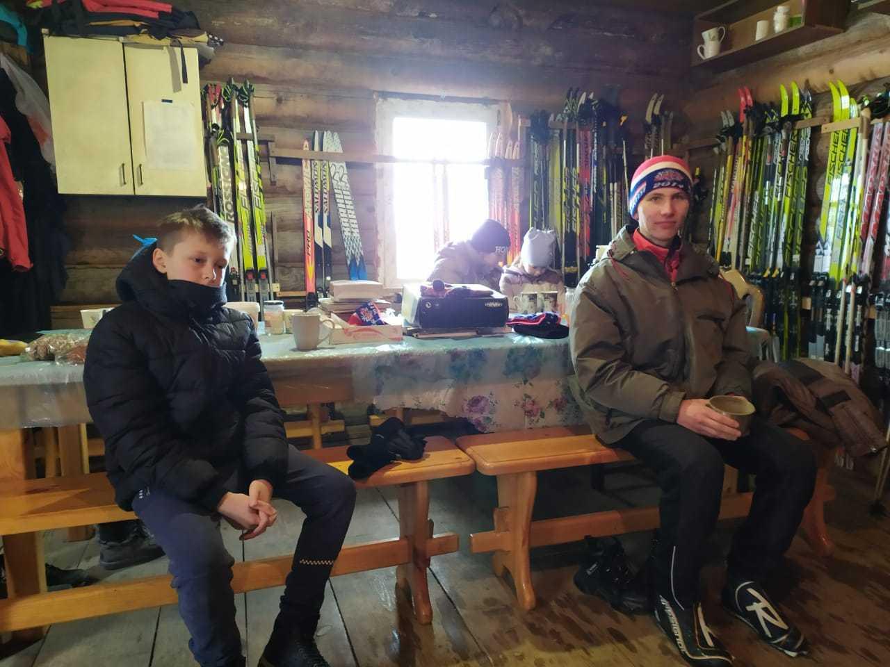 Отдых после лыжной прогулки
